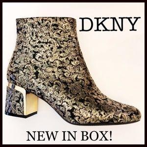 NIB DNKY Block Heel Ankle Zip Boots Black & Gold